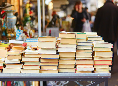 Stacks of books on a table