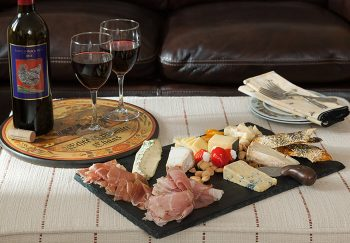Antipasto platter and wine