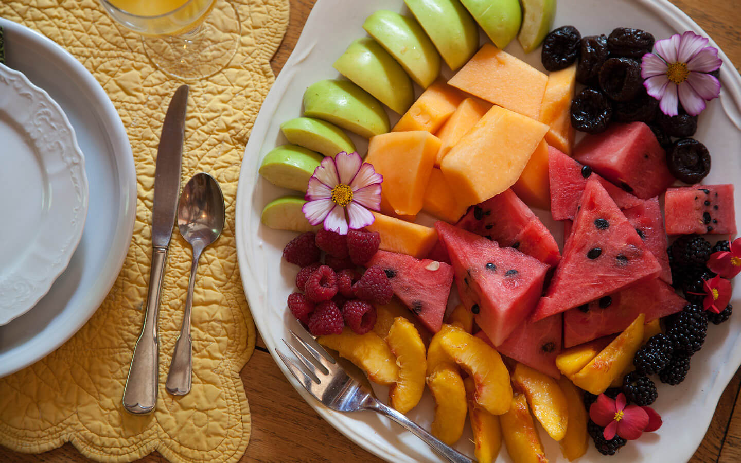 Plate of fruit for breakfast at our Amish Country bed and breakfast