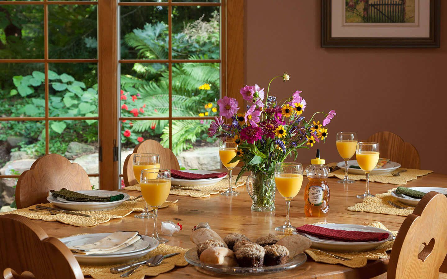 Dining room table set for breakfast at our B&B in Lancaster County