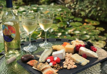 Cheese and cracker tray with wine