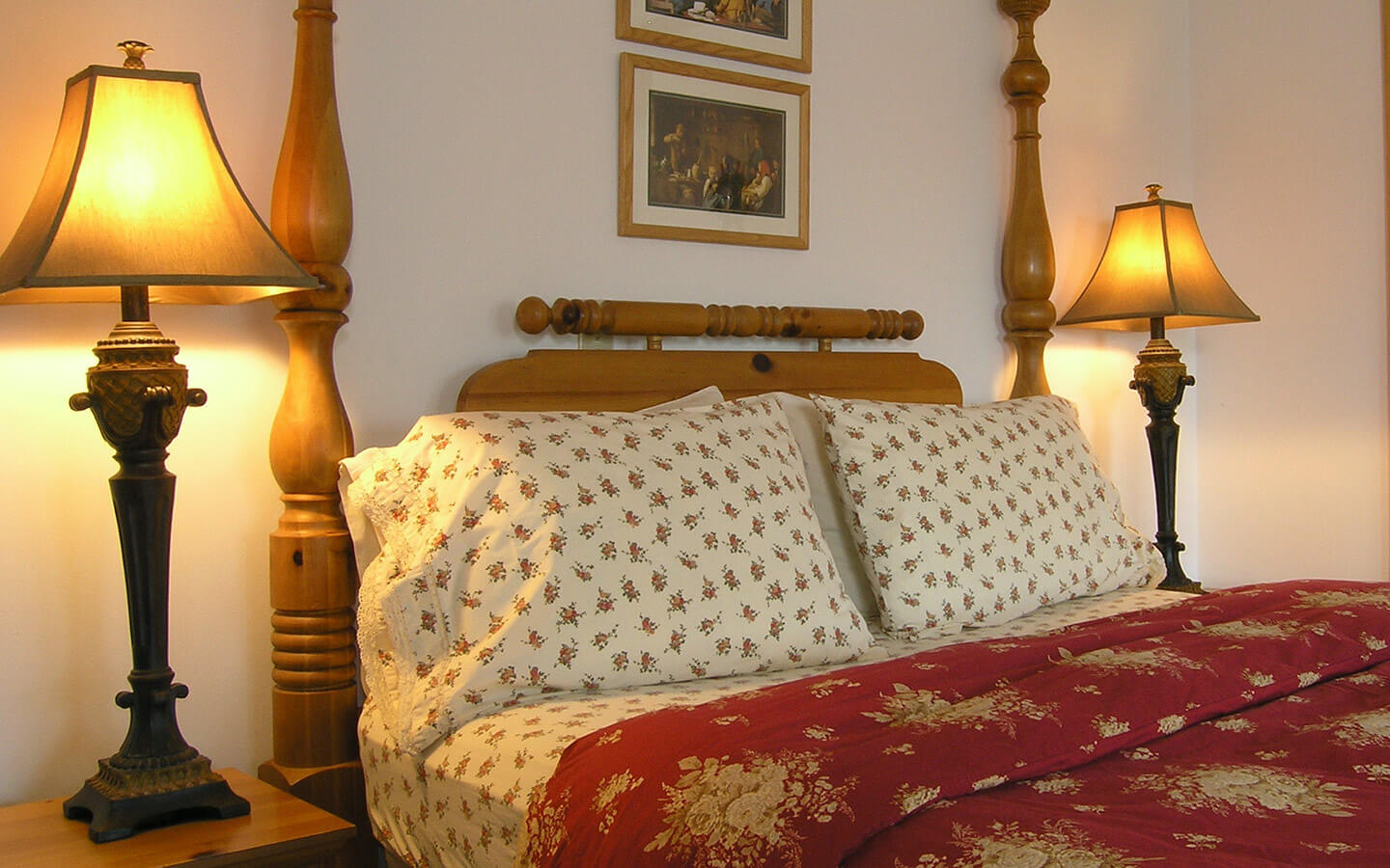 Lake of Geneva Room bed and lamps on side tables at our Lancaster County B&B