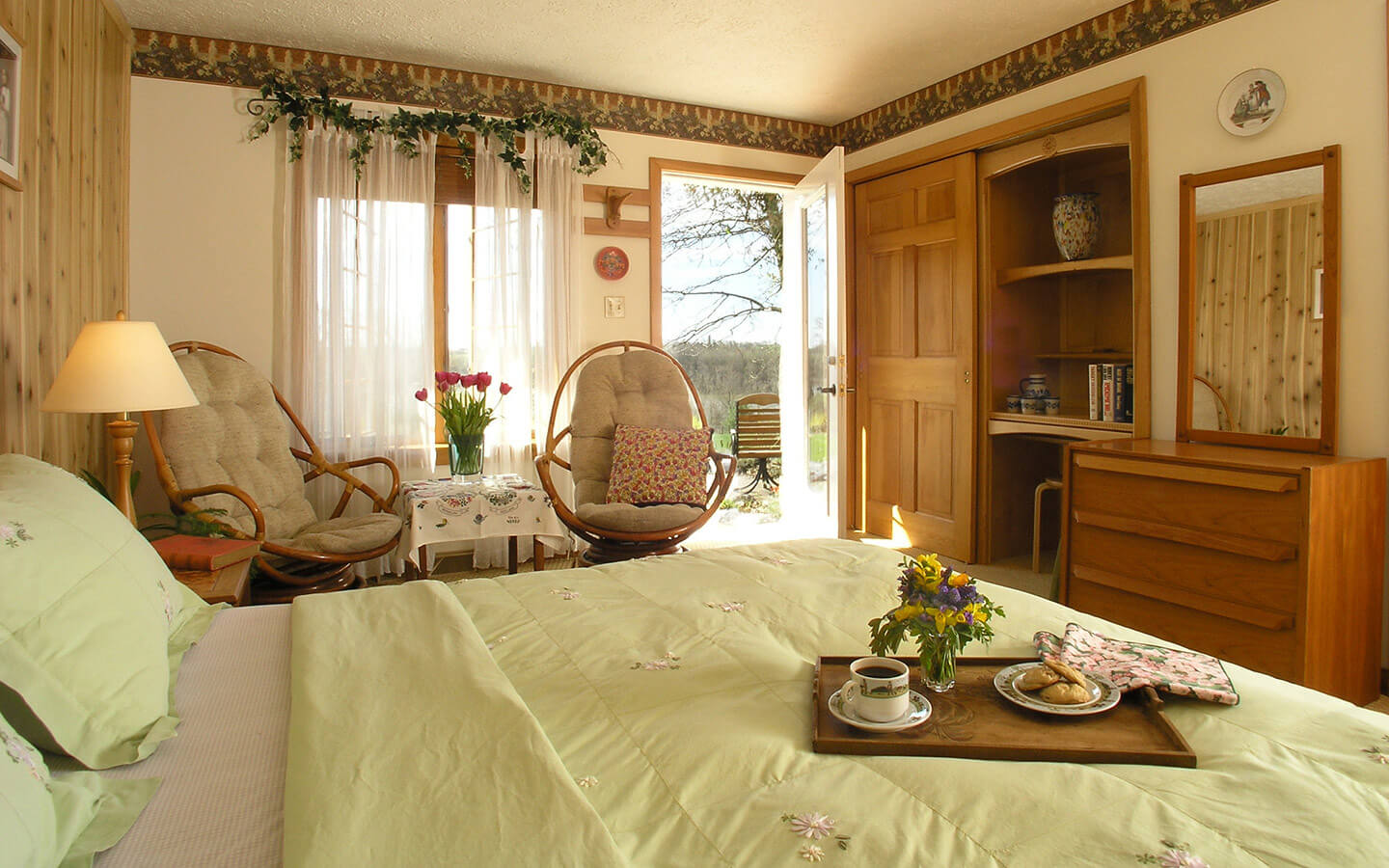 Lugano Room bed and seating area at our Lancaster County, PA B&B