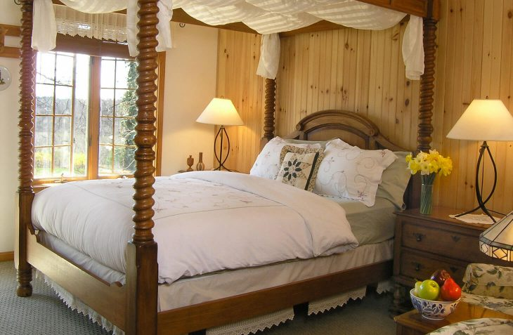 San Bernadino Room four poster bed at our Amish Country bed and breakfast