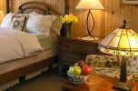 San Bernadino Room four poster bed and seating area at our Lancaster County B&B