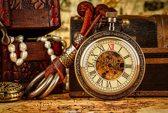 Old pocket watch and other antiques