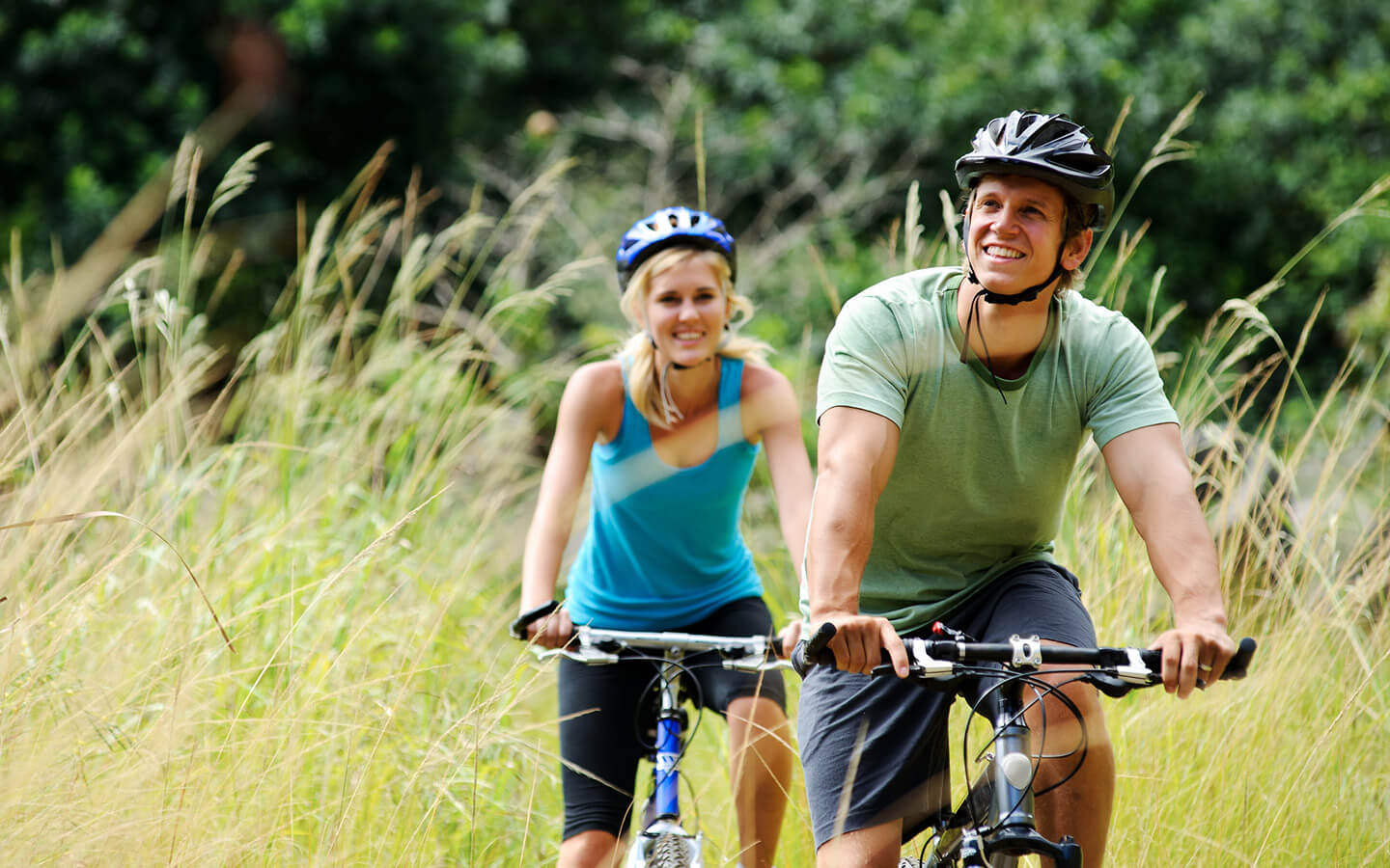 Happy couple on a bike trail in Lancaster County