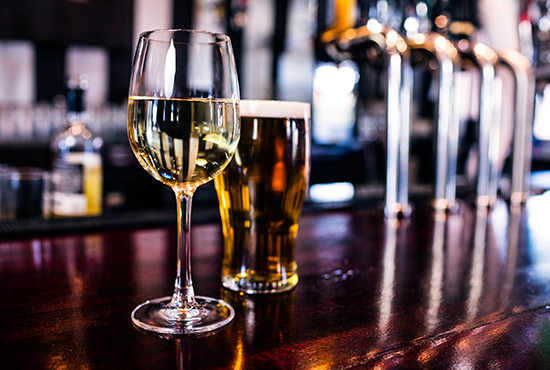 Wine and beer at a bar in Lancaster County
