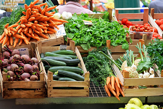 Fresh vegetables at a farmers market in Lancaster County