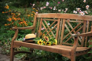 Wooden bench in the garden at our Lancaster County PA B&B