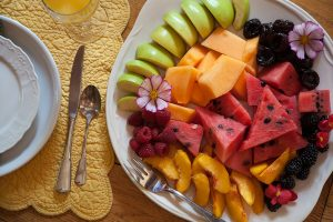 Plate of fruit for breakfast at our Lancaster County, PA bed and breakfast