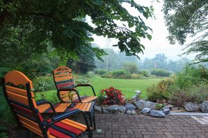 Chairs on the patio in the garden at our Lancaster County bed and breakfast