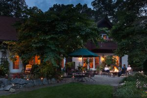 Garden patio in the evening at our B&B in Lancaster County