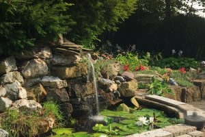Fountain in the garden at our Lancaster B&B