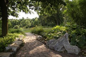 Path through the gardens at our Lititz, PA bed and breakfast