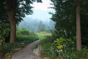 Path through the gardens at our at our Lancaster County, PA bed and breakfast
