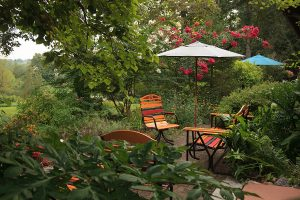 Seating area in the gardens at our Lititz, PA B&B