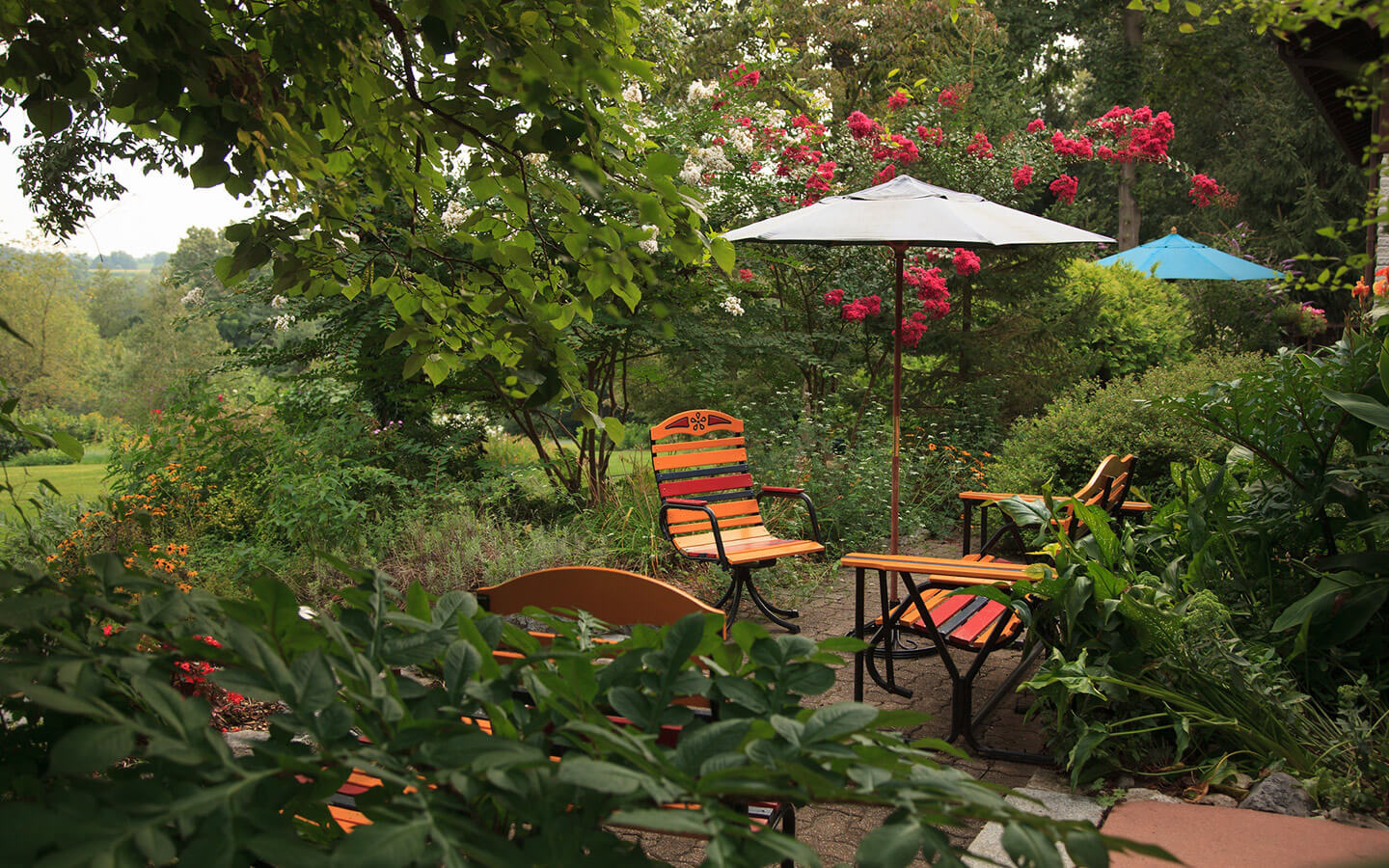 Seating in the gardens at our B&B in Amish Country PA