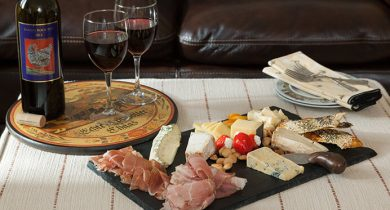 Antipasto plate with wine at our Amish Country B&B