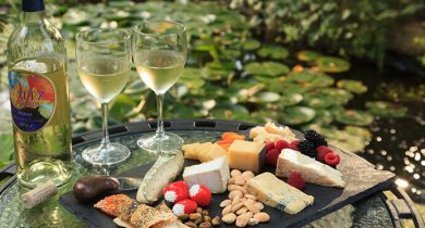 Plate of cheese and crackers with wine is served at our Lancaster County B&B