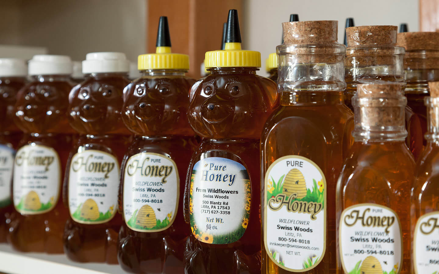 Honey Bottles from our onsite hives