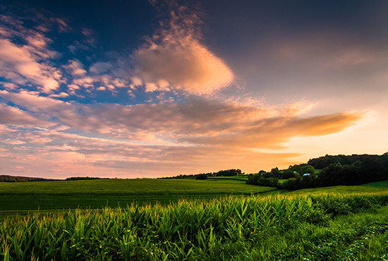 Beautiful sunset views in Amish Country