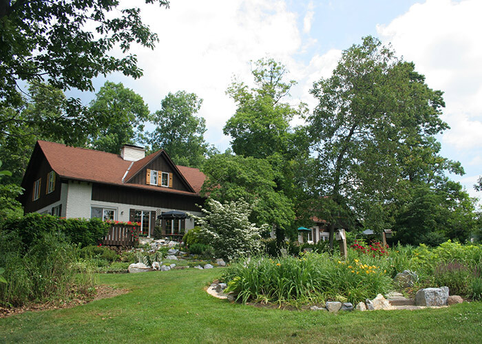 Exterior view of our Lancaster, PA bed and breakfast and gardens