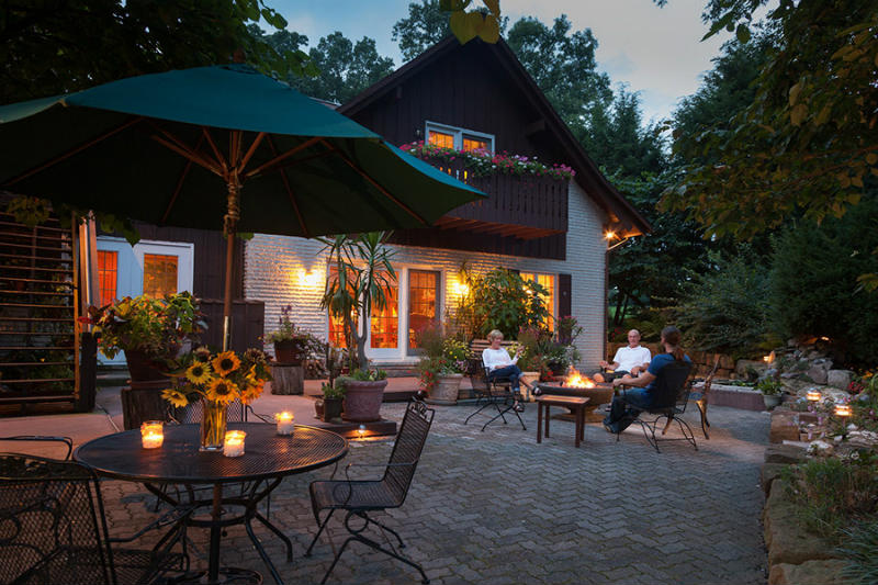 Spend an evening by our fire pit at Swiss Woods Bed and Breakfast Inn