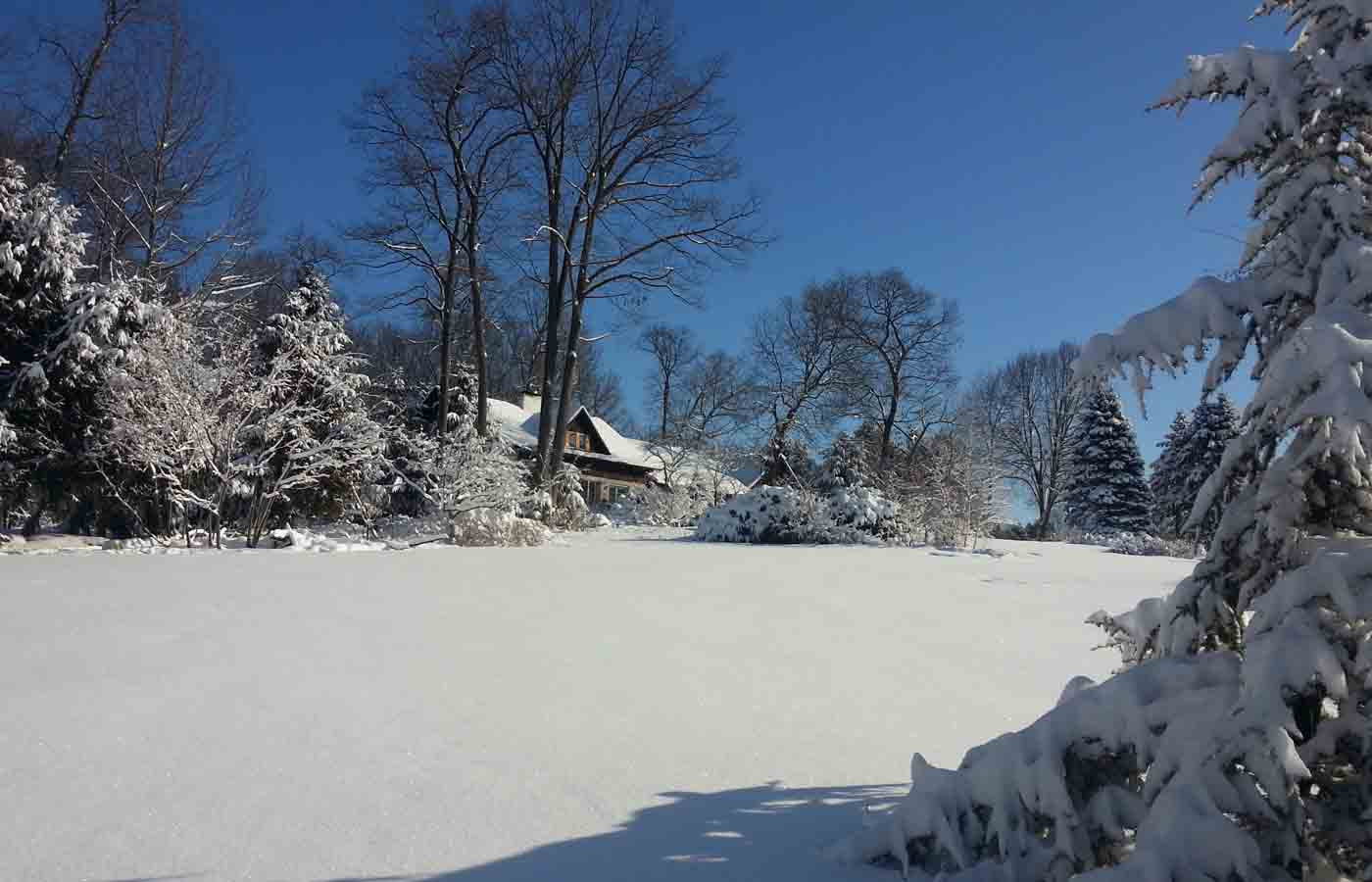 Exterior view of our Lititz Bed and Breakfast with snow
